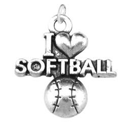 20pcs i love softball sporty one side charm