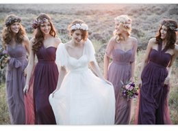 Wholesale Long Ruched Halter Gown - 2016 Cheap Annabelle Jenny Yoo Convertible Bridesmaid Dresses Long Tulle Backless Maid Of Honor Dress Bridal Party Gown For Bohemian Wedding