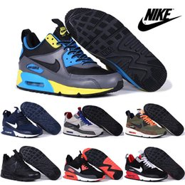 2016 Mens Brown Walking Shoes Nike Men Running Shoes Air Max 90 Winter Sneakerboot Cheap 100. 50