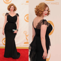 Inspired By Christina Hendricks A Line Black Lace Celebrity Dress With Sexy Sweetheart Neckline Short Sleeve Low back Satin Fabric Dhyz 01