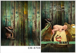 Wholesale 5X7ft Green Wood Wall Vintage Photography Studio Backgrounds For Photos Muslin Computer Printed Digital Cloth Vinyl Backdrop
