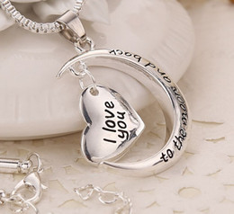 MIC 10pcs New Antique silver & Silver Plated Crescent Moon Heart Charm I Love You to the Moon And Back Necklace