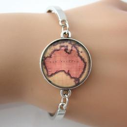 Wholesale New Australia Bracelet Vintage Map Bangle Map Jewelry Glass Art Picture Silver Plated Men Bracelet For GIFT