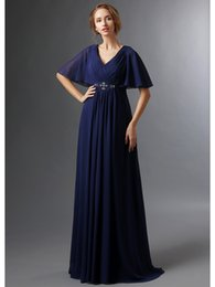 Wholesale Glamorous Dark Navy A line Chiffon Wedding Party Gowns V neck Bell Mother Of The Bride Dresses Pleated Crystal Mother s Formal Wear md10249