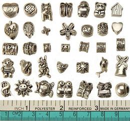Wholesale european charms beads mixed set diy metal big hole antique silver bracelets wholesales bangles necklaces pendants jewelry findings