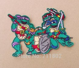Wholesale USA movie iron on patches Teenage Mutant Ninja Turtles Michelangelo Computer animated cartoon embroidered embroidery fabric