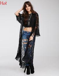 Wholesale Long Sleeve Cover Up - Women Tassel Cardigan Lace Floral Maxi Blouse Long Top Hollow Crochet Knit Blouse Sun Shirt Beach Cover Up Dress Black Full Length SV021645