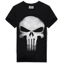Marvel hero Rocksir punisher t shirts for men t shirt Cotton fashion brand t shirt men Casual Short Sleeves the punisher T-shirt Men