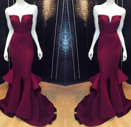 Burgundy Long Formal Evening Dresses Strapless V Neck Mermaid Sweep Train Satin Women Celebrity Prom Party Gowns Real Pictures