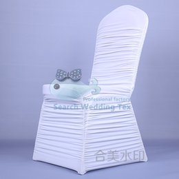 Wholesale White Ruffled Spandex Chair Cover Cheap Price Wedding Stretch Lycra Chair Cover