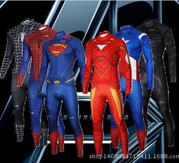 Wholesale American Super Hero Cylcing Jerseys Sets Spidermen Ironmen Batman American Captain Cycling Clothing Tight Suit Long Sleeve Pad Pants