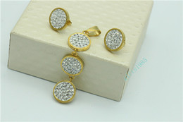 Hot sales woman jewelry Pendant earrings set stainless steel crystal clay