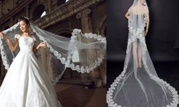 Real Image 3 meters Wedding Veils Lace Applique Edge Tulle Cathedral Length Veils In Stock Bridal Veils Accessories Wedding Favors