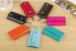 Wholesale Korean artificial leather key wallets car key holders cases pocket gifts key chain rings bags mixed colors pick