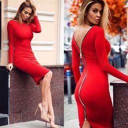 Newest Sexy Zipper Back Sheath Red Charming Women Dresses 2016 Hot Sale Long Sleeve Elastic Backless Sheath Knee Length Lady Party Dresses