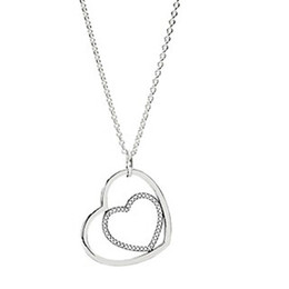 High-quality 925 Sterling Silver Heart To Heart with Clear CZ Necklace for European Pandora Style Charms and Beads Pendants