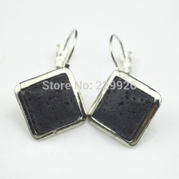 Wholesale Mini order E1024 Lava Rock Volcano Stone Earring Pair Vintage Look Antique Silver Plated Earrings
