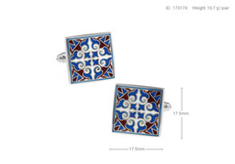 High Quality New Classic Silver Copper Mens Wedding Cufflinks Novelty Rare Fancy Enamel Classic Square& Clean Cloth 170179