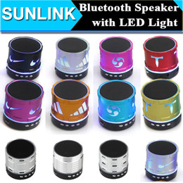 Wholesale 70 Kinds S Series Mini Bluetooth Speaker LED Flash Handsfree Wireless Stereo Speakers Supports FM Radio TF Card USB for iPhone S S6 Note4
