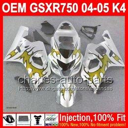 7gifts+Injection For SUZUKI K4 Gold flames 04 05 GSXR750 GSXR 750 04-05 5L226 GSX-R750 GSXR-750 Silver GOLD 2004 2005 GSX R750 Fairing Kit