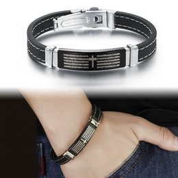 Wholesale Vintage Holy Bible Cross Silicone Man Wrap Bracelets Fashion Religious Stainless Steel Safety Clasp Men Jewelry TY924