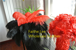 Wholesale-FREE SHIPPING 100pcs lot 12-14inch(30-35cm) Black and Red Ostrich Feathers for wedding centerpiece wedding decor