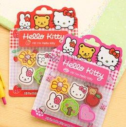 Wholesale 6pc hello kitty Pencil eraser erasers for kids school Supplies erasers stationery rubber cute cartoon eraser articulos escolares