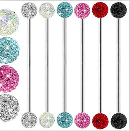 14 Gauge Basic crystal ball cz GEM Industrial Barbell 38mm ear plugs 50pcs body jewelry
