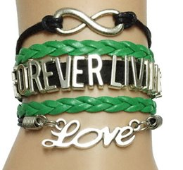 Wholesale 2016 hot new Drop Shipping Infinity Love Forever Living Bracelet Custom Black with Green Leather Strap Cosmetics Company Career Gift