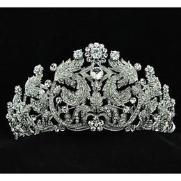 Wholesale Popular Austria Rhinestones Leaves Big Tiara for Wedding Bridals