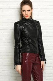 Wholesale 2016 New Spring Women Sheep skin Short Paragraph Slim Bike Genuine Leather Jacket