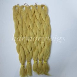 Kanekalon Jumbo braids hair Extension 24inch 80g Solid CATKIN YELLOW Color Xpression Synthetic Braiding Hair Senegalese Twist T0755