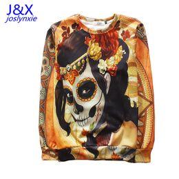 Wholesale-New dia de los muertos skulls sweatshirt men flowers skull 3d thin hoodie pullovers clothing funny party sweatshirts tops