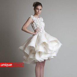 Wholesale White Short Modern Cocktail Dresses Ball Gown Scoop Lace Organza Evening Party Dresses Beaded Jewel Ball Gown w02756