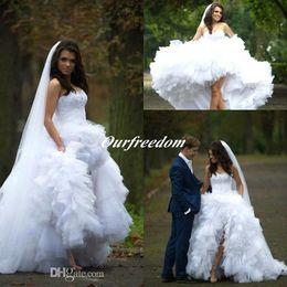2019 Hi-lo A Line Wedding Dresses Beach Short Princess Ball Gown Sexy Backless Sweetheart Sequins Puff Tiered Skirts Wedding Dress
