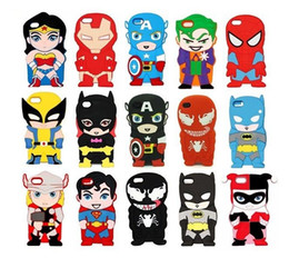 Wholesale 3D Cartoon Venom Ironman Captain America Spider Superman Bat Man Batgirl Superhero Comics Silicone Case For iPhone S S iPod Touch