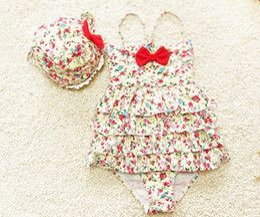 toddler girl floral swim suit ruffle one piece swimwear baby swimsuit hat 3 piece swim girl kids girls swimwear with bow free shipping BY000