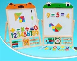 Wholesale-Free Shipping Kids Children Educational Intelligent Wooden Bear Frog Easel Drawing Black White Board Toys Set for Boys and Girls
