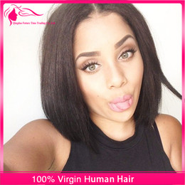 Natural Hairline Short Bob Cut Full Lace Wigs Middle Part Unprocessed 9A Grade Virgin Human Hair Glueless Lace Front Wigs For Black Women