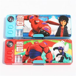 Wholesale Stationery Pencil For Children - Big Hero 6 Pencil Case Plastic Pencil box Children multifunction Stationery for girl and boy 24*9*3cm Free shipping