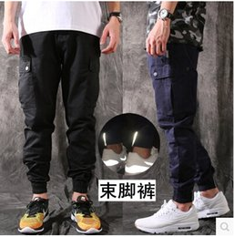 Wholesale-2015 new brand pants man cotton beam jogger Pure pants hip hop sports reentrant chino trousers men quick dry fitness khaki