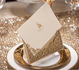 Wholesale Wedding Invitation Card Hollow Fashion Custom Made Cheap cm cm Foldable Champagne New Arrival Sale