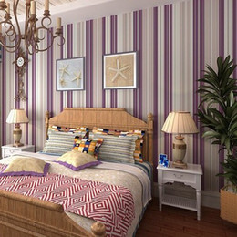 Girls bedroom wallpaper modern Purple stripe wallpaper wall paper background wall wallpaper for living room bedroom W133S