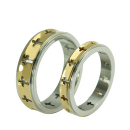 New couple ring for his and hers promise sets hollow cross stainless steel High Quality