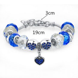 European Style Fit Pandora Bracelet For Women With Blue Crystal&Glass Beads Fashion Imitation Jewelry SBR150046