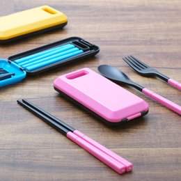 Wholesale New ABS eco friend material Portable travel tableware suit folding chopsticks fork spoon kit eating utensils cooker tools
