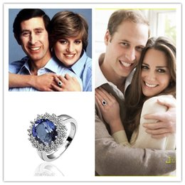 Wholesale Princess Diana Kate Middleton wedding rings K gold plated with zircon crystal new arrival hot sale fashion jewelry for women