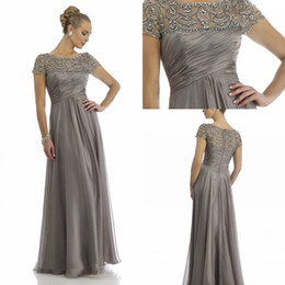 Wholesale Cheap Sheer Chiffon Lace Evening Gowns Short Sleeve Beading Rhinestone Ruffles Scoop Floor Length Mother of the Bride Groom Dresses
