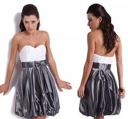 Wholesale Shimmering Taffeta A Line Cocktail Dresses with Cute Bowtie White Top Pumpkin Skirts Sweetheart Backless Prom Party Gowns