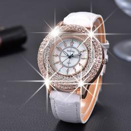 Wholesale GOGOEY New Fashion Ladies Leather Crystal Diamond Rhinestone Watches Women Beauty Dress Quartz Wristwatch Hours Reloj Mujer